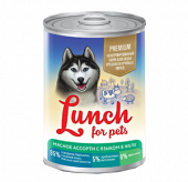 Lunch for pets корм для собак Мясное ассорти с языком в желе 6 х 850г